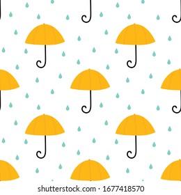 Cute cartoon style umbrella and water drops, rain seamless pattern background.