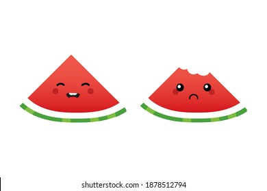 Cute cartoon style watermelon slice characters, happy smiling and sad with bite mark.