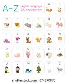 Cute cartoon styles, cartoon character A-Z capitalize alphabet, English language vector