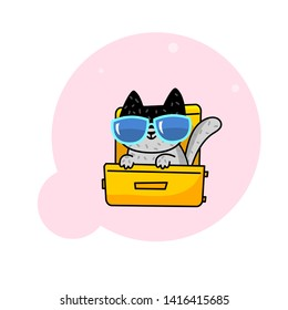 Cute cartoon summer cat in a suitcase. Cute cat sitting in a suitcase in the glass. Vector illustration.