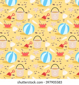 cute cartoon summer pattern with shells, crabs, ball and rocks. can be used for textile, wrapping paper or for greeting cards and party invitations