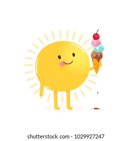 Cute cartoon sun eating ice cream. Funny star holding sweet frozen food. Vector summer image for kids apparel, poster, postcard or sticker. Sphere of hot plasma.