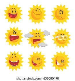 Cute cartoon sun emojis. Emotional face set of colorful characters vector Illustrations