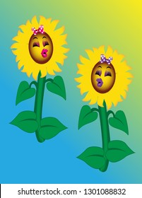 Cute cartoon sunflowers with bright pink and purple lips and eye shadows.