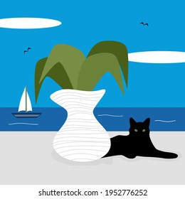 cute cartoon sunny day greek landscape scene with cat, vase with plant and sea vector illustration