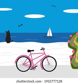 cute cartoon sunny day greek landscape scene with black cat, bicycle and sea vector illustration