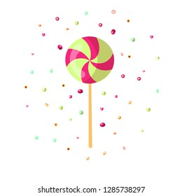 Cute cartoon sweet lollipop icon. Cute colored cartoon lolly icon round form isolated on white background. Sweet caramel and sugar lolipop icon with decoration. Lollipop icon isolated