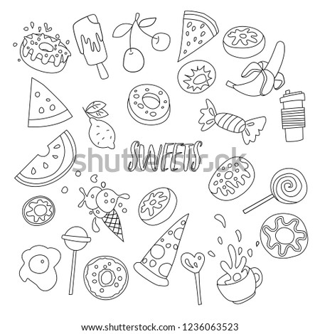Cute Cartoon Sweets Line Icon Set Stock Vector Royalty Free