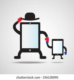 Cute cartoon tablet and smart phone mascot. EPS 10.