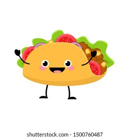 Cute cartoon Taco vector illustration isolated on white background. Kawaii Mexican food. Food characters vector.
