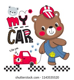 Cute cartoon teddy bear boy wearing overalls and hat dragging red toy car isolated on white background illustration vector.