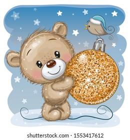 Cute Cartoon Teddy Bear with a Christmas toy on a blue background