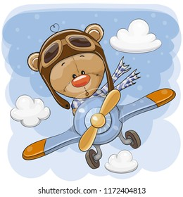 Cute Cartoon Teddy Bear is flying on a plane