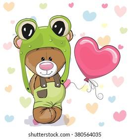 Cute Cartoon Teddy Bear in a frog hat with balloon