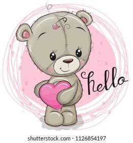 Cute Cartoon Teddy Bear girl with heart