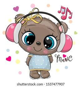 Cute cartoon Teddy Bear girl with pink headphones on a white background