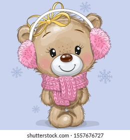 Cute Cartoon Teddy Bear in a knitted scarf and fur headphones on a blue background