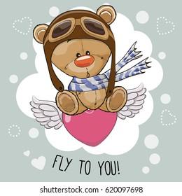 Cute cartoon Teddy Bear in a pilot hat is flying on the heart