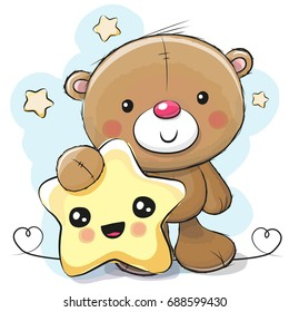 Cute Cartoon Teddy Bear with smiling star on the stars background