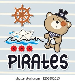 Cute cartoon teddy bear wearing a pirates hat with paper boat on striped background illustration vector