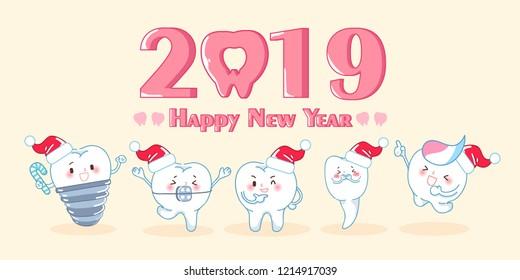 cute cartoon teeth celebrate christmas and 2019 new year