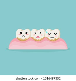 Cute cartoon teeth character  dental calculus is the calcified plaque, or tartar, dentist pulls out sick tooth. Dental care concept, illustration isolated on blue background. - Vector