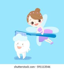 cute cartoon teeth sleep with  tooth fairy