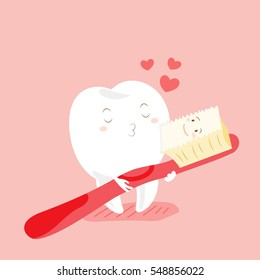 cute cartoon teeth and toothbrush with happy valentine day