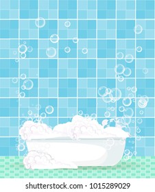 Cute cartoon template with bathroom interior, bathtub full of foam, floating soap bubbles and copy space on blue tiled background. Comfortable equipment for bathing and relaxing. Vector  illustration.
