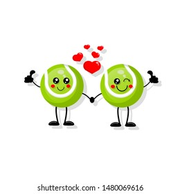 Cute cartoon tennis ball in love,tennis ball with giving thumb Up. funny friends character concept. illustration for kids.cartoon style