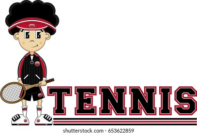 Cute Cartoon Tennis Boy