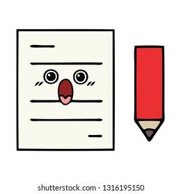 cute cartoon of a test paper
