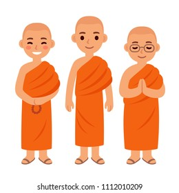 Cute cartoon Thai Buddhist monks in orange robes. Simple vector character clip art illustration set.