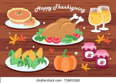 Royalty Free Thanksgiving Dinner Cartoon Stock Images