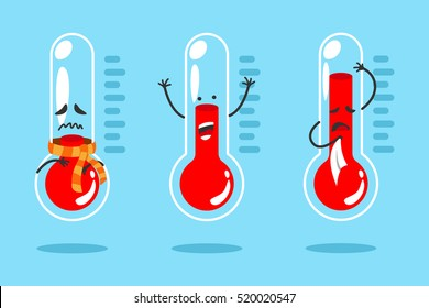 Cute cartoon thermometer with different emotions. Vector illustration set.