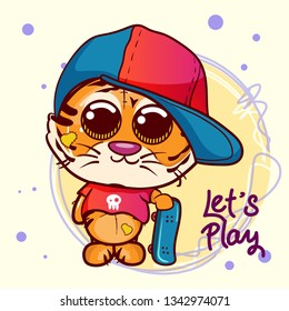Cute Cartoon tiger boy with skateboard . Can be used for baby t-shirt print, fashion print design, kids wear, baby shower celebration, greeting and invitation card. - Vector