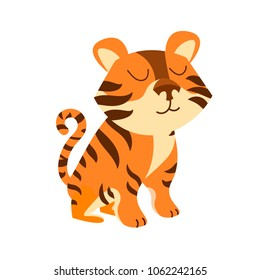 A cute cartoon tiger. Illustration for decoration of children's products