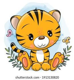 Cute Cartoon Tiger on a blue background