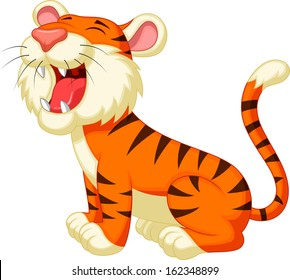 Cute cartoon tiger cartoon roaring
