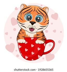 Cute cartoon tiger is sitting in a cup of coffee. Wild kitty character flat style. Modern poster for prints, kid greeting card, poster, t-shirts. Vector illustration.