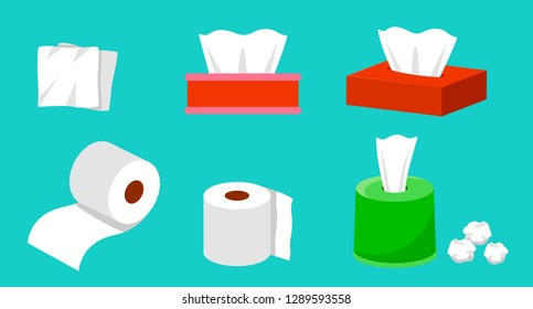 Cute cartoon tissue paper set, roll box, Use for toilet, kitchen, Flat vector illustration isolated on EPS10.