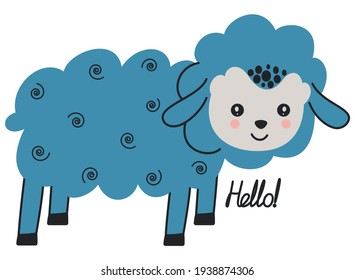 """Cute cartoon toddler illustration of standing blue lamb and calligraphic hand lettering """"Hello!"""" on a white background. Scandinavian style. Vector."""