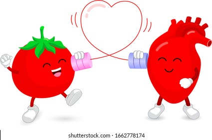 Cute cartoon tomata character and heart talking on the can phone. Connection between human internal organ and food. Health care concept. Vector illustration isolated on white background.