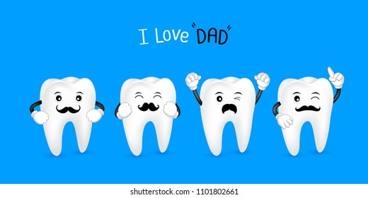 Cute cartoon tooth with black mustache. I love dad concept. Happy Father's Day. Illustration isolated on blue background.