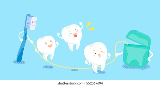 cute cartoon tooth and brush playing with dental floss