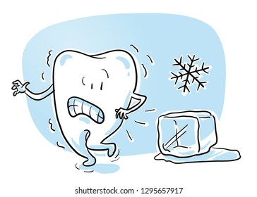 Cute cartoon tooth caracter, beeing afraid of cold ice. Concept for sensitive teeth. Hand drawn cartoon sketch vector illustration, whiteboard marker style coloring.