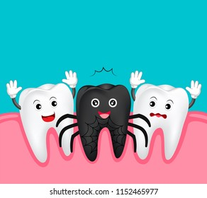 Cute cartoon tooth character. Black spider, happy Halloween concept. Illustration isolated on blue background.