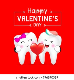 Cute cartoon tooth character, boy and girl holding heart. Happy Valentine's day.  Illustration isolated on red background.