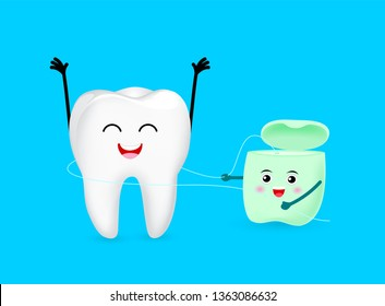 Cute cartoon tooth character cleaned by dental floss. Dental care concept. Illustration isolated on blue background.