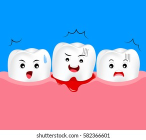 Cute cartoon tooth character with gum problem. Dental care concept, gingivitis and bleeding. Illustration